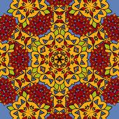 Unusual seamless oriental art backdrop. Geometric mandala unusual wallpaper. Indian carpet — Stock Vector