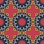Seamless symmetrical pattern in red and yellow colors. Mandala. Kaleidoscopic motif. — Stock Vector
