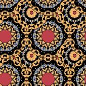 Sömlös tribal tapet. Ändlösa plattor vektor design av gul, grå och röd färg — Stockvektor