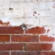 Red brick wall half painted in white vertical image — Stock Photo #67149171