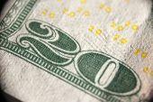 Macro image of 20 dollar bank note — Stock Photo