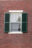 Black metal  Window in the Cambrige, Massachussets, US — Stock Photo
