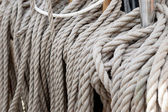 Set of sail boat ropes on horns — Stock Photo
