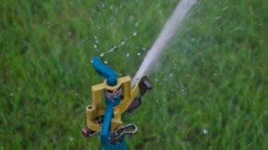 Very closeup pf garden sprinkler head — Stock Video