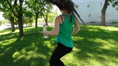 Girl having fun outdoor — Stock Video