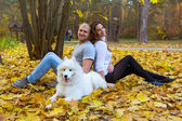 Young couple with a dog in the autumn forest — Stock Photo