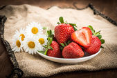 Beautiful strawberries on the  table — Stock Photo