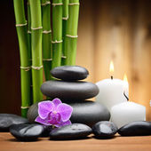 Spa still life zen basalt stones and orchid — ストック写真