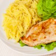 Chicken breast with pasta and salad — Stock Photo #62867015