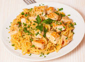 Chicken breast with pasta — Stock Photo
