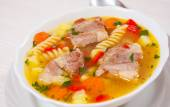 Soup with meat, pasta and vegetables — Stock Photo