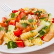 Pasta salad with smoked salmon and vegetables — Stock Photo #82226160
