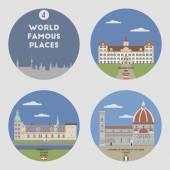 World famous places. Set 4 — Stock Vector