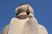 Gaudi Chimneys statues — Stock Photo