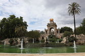 Fountain and cascade in park De la Ciutadella — Stock Photo