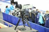 TV camera at World Short Track Speed Skating Championships — Stock Photo