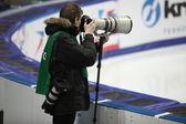 Photographer at World Short Track Speed Skating Championships — Stock Photo