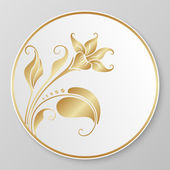 Vector gold decorative plate. — Stock Vector