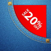 Denim pocket and sale twenty off — Stockvector