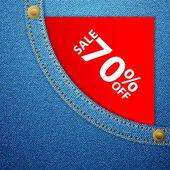 Denim pocket and sale seventy off — Stock Vector