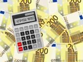 Calculator on two hundred euro background — Vector de stock
