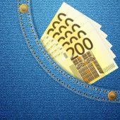 Denim pocket and 200 euro banknotes — Stock Vector