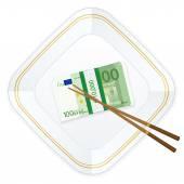 Plate chopsticks and one hundred euro pack — Stok Vektör
