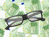 Reading glasses on one hundred euro background — Stock Vector