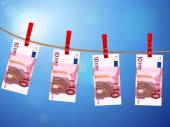 Ten euro banknotes on clothesline — Stockvektor