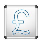 Whiteboard british pound — Stock Vector