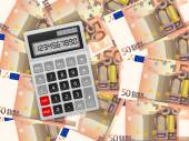 Calculator on fifty euro background — Stockvektor