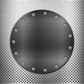 Grey metal grid and black circle plate — Stockvektor
