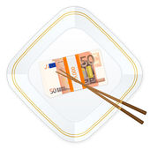 Plate chopsticks and fifty euro pack — Stockvektor