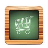 Blackboard shopping cart — Vector de stock