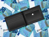 Wallet on twenty euro background — Stock Vector