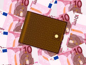 Wallet on ten euro background — Stockvektor
