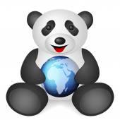Panda world globe — Stock Vector