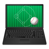 Laptop baseball — 图库矢量图片