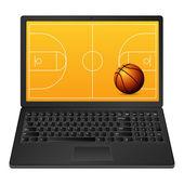 Laptop basketball — 图库矢量图片