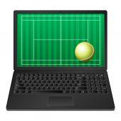 Laptop tennis — 图库矢量图片