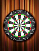 Dartboard wooden background — 图库矢量图片