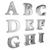 Silver alphabet A to I — Stock Photo
