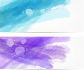 Watercolor brushed lines banners — Stock Vector