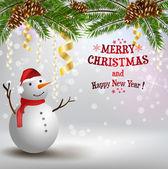 Jul bakgrund med snögubbe — Stockvektor