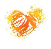 Orange grunge heart — Stockvektor