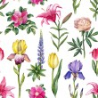 Watercolor flowers seamless pattern — Stock Photo #59472847