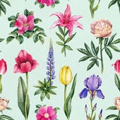 Watercolor flowers seamless pattern — Stock Photo