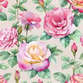 Watercolor rose flowers pattern — Stock Photo