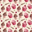 Cherry and chocolate cupcakes  pattern — Stock Photo #59829297