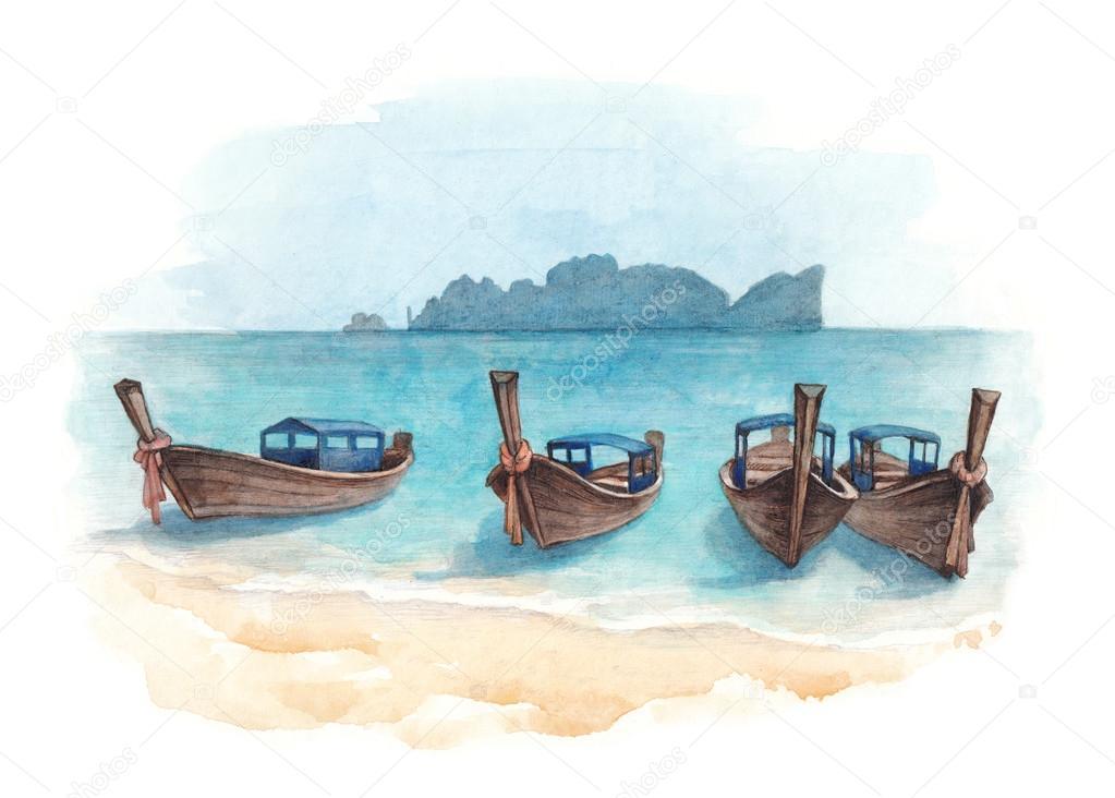 рисунок акварелью лодка